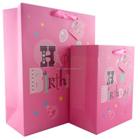 New birthday party gift bags /210gsm ivory paper + silkscreen glitter /with ribbon handle /Good quality