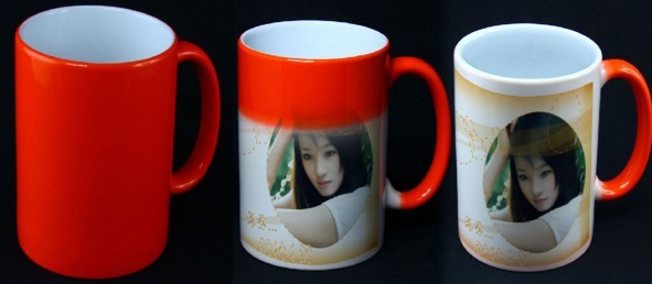 heart sense of touch warm high temperature discoloration cup