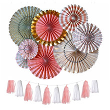Hanging Colorful Decorative Round Flower Tissue Paper Fans