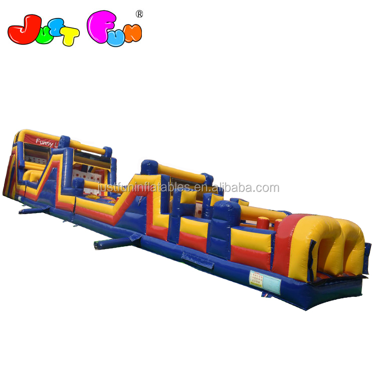 giant colourful funny land  inflatable slip n slide obstacle courses for kids n adults sale