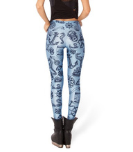 Blackmilk 3D Digital Seamaster Printing Sexy Leggings Blue Nautical Design Fitness Sport Leggings Women Printed Pants