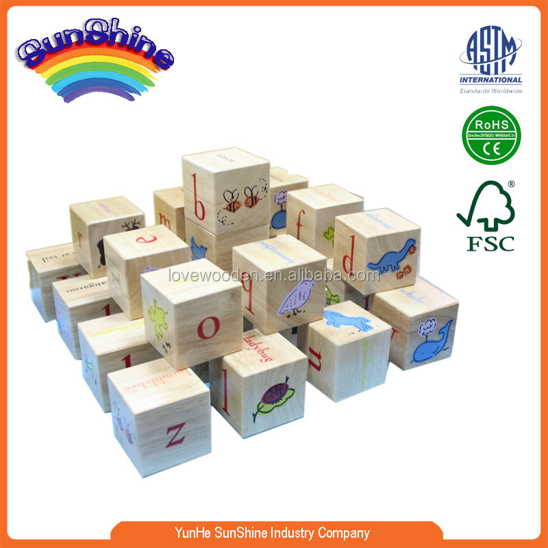 2015 new hot sell wooden block ABC letters block building block
