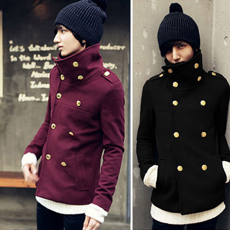 Wholesale Mens Cheap Winter Classic Double-Breasted Wool Pea Coat <strong>M</strong>/L/XL