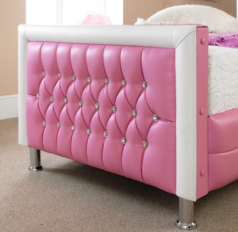 Beautifully Upholstered Diamante Pink White Faux Leather Bed Frame