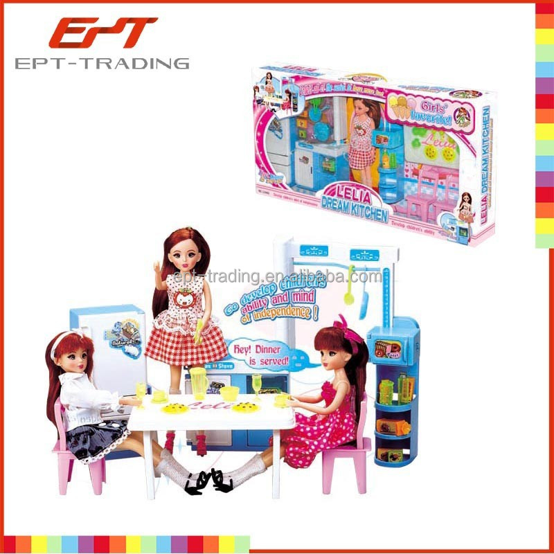 Fashion doll with kitchen plastic doll for children