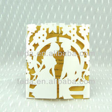 Laser cut couple fancy wedding invitation cards