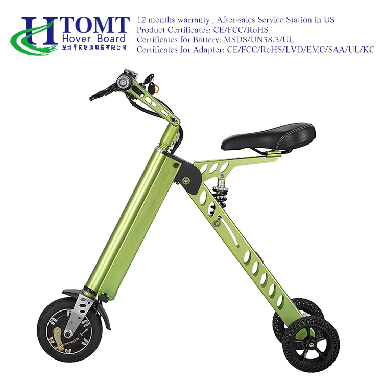 2016 HTOMT manufacturer price electric motor bike scooter three wheels folding scooter hybrid bike