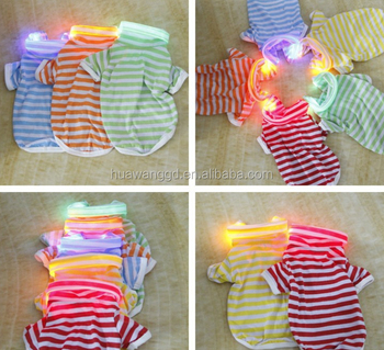 Wholesale pet dogs summer clothing ,dogs stripe polo shirt with LED collars with various colors
