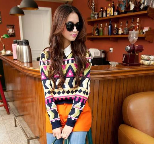 M30833A Korean design pullover chevron pop sweater