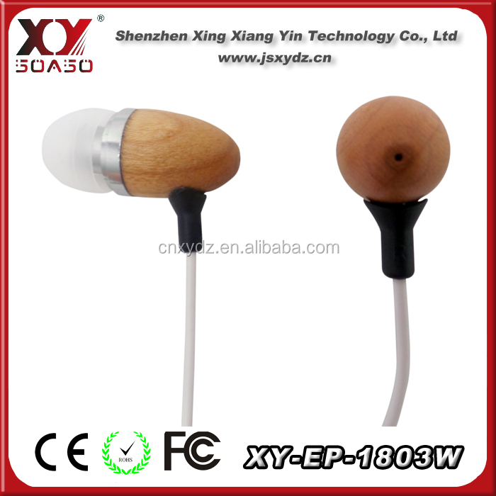 Noise cancelling wooden in-ear earphone earbud with 3.5mm connector