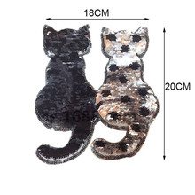 cartoon cat applique reversible sequin embroidery patch sew or iron on patch