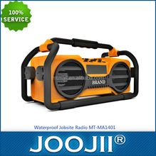 Waterproof portable construction FM radio with power supply for mobile phone