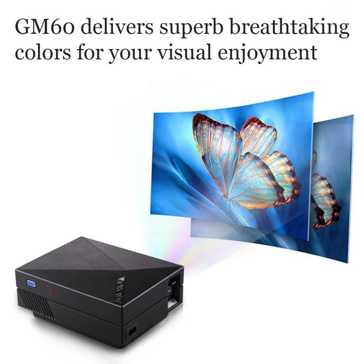GM60 video projector 1080P led mini Projector 1000 lumens with AV USB VGA SD