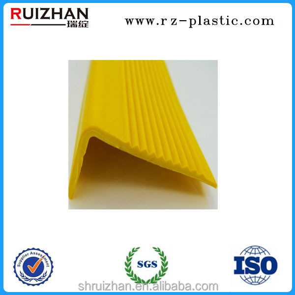 Protective soft PVC yellow anti slip plastic stair nosing strip