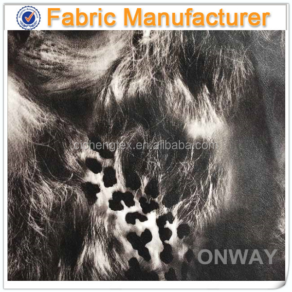 china textile viscose pu leather fake printed wholesale faux leather fabric for clothing