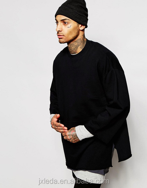 Wholesale men longline oversized half sleeves sweatshirt, China OEM 2016 fashion hip hop clothing