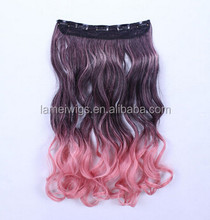 two-tone U-pick synthetic hair New Women Long curly hair 5 piece Clip in hair Extensions Hairpieces