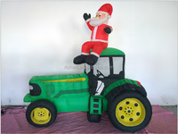 Top quality custom cheap inflatable santa with tractor