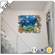 Under sea world 3d self adhesive wall decoration sticker