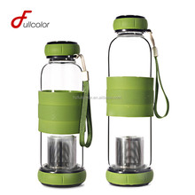 BPA free glass water bottle with tea infuser and slicone sleeve