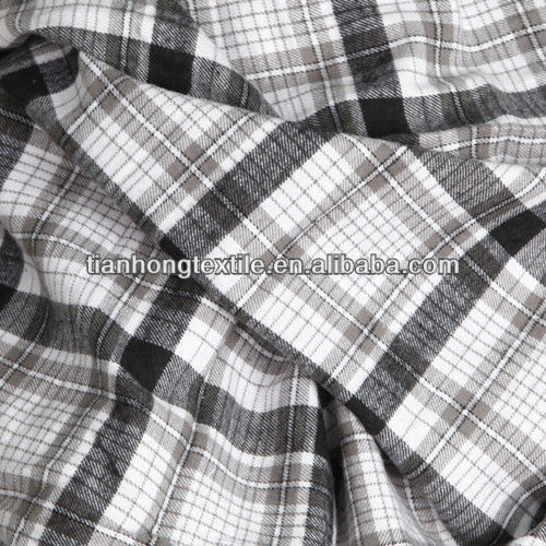 Polyester Cotton Check Stretch Flannel Fabrics