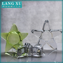 tear drop birch design green colored thin wall star shape tealight candle holder