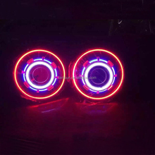"Super Bright Red Blue Green White 7"" LED Headlight with Halo Ring for Jeep Wrangler CJ LJ TJ JK"