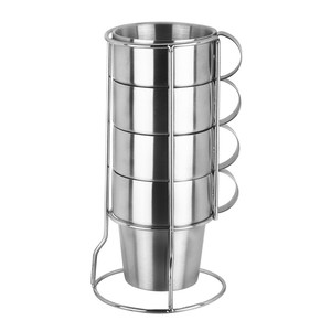 Wholesale 4pcs coffee mug stainless steel coffee cup set with metal rack