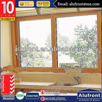 US STANDARD popular aluminum wooden double tempered glass sliding window and door