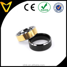 Hot sell stylish tungsten finger ring design for men and women Vlink jewelry beveled edges tungsten ring designs