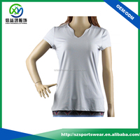 Fashion New design Dri fit polyester spandex smooth material Sports T shirts for women