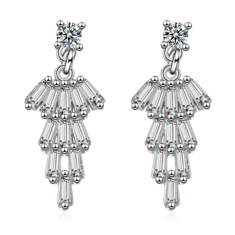 2019 Luxury Bridal Jewelry Cubic Zirconia Dangle Wedding <strong>Earrings</strong> For Women