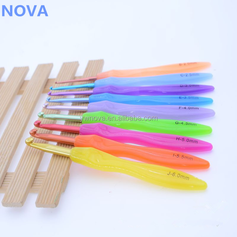 8pcs Set 2.5mm-6mm,Sharp Rainbow ABS Handle Crochet Hook,Ergonomic Grip,Aluminum Knitting Needle