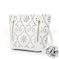 BELLUCY Eye Diamond Pattern Perforated Eyelet Cross Body Bag
