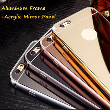 Mirror Case For iPhone 6 6s Plus 5G 5S SE 4S 5C case Metal Aluminum Frame+Hard PC Plating Back Cover For iPhone samsung