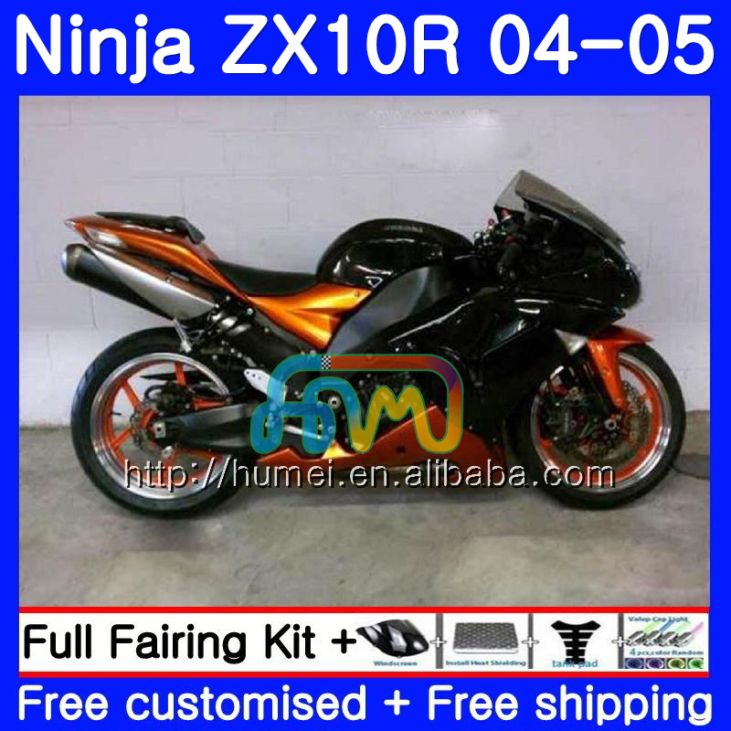 Bodywork For KAWASAKI NINJA ZX1000C ZX 10R 2004 2005 41HM101 ZX-10R ZX1000 Orange black <strong>C</strong> 04 05 ZX <strong>10</strong> <strong>R</strong> ZX10R 04 05 Fairing kit