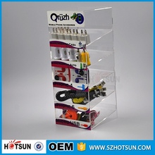 Counter top mobile phone accessories display stand acrylic display for phone charge