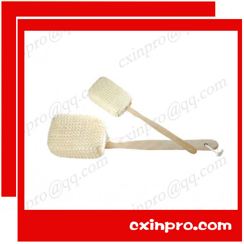 .Long Wooden Handle Natural Sisal Sponge Spa Bath Shower Scrubber Body Back Brush