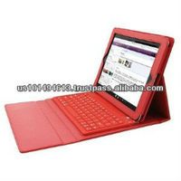 PU Leather Case with Bluetooth Wireless Keyboard for Ipad2/3 (Red)