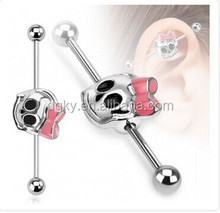 316L Surgical Steel Cute Skull Ribbon Industrial Barbell magnetic industrial ear piercing