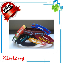 promotional cheap silk screen printing Silicone wristband , custom cheap bulk silicone wristband factory