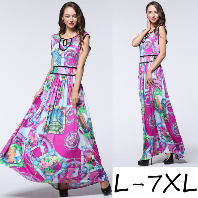 UK Bohemia sexy fashion elegant V neck strap slim waist orient large flower printed Maxi cotton beach party holiday swing dress