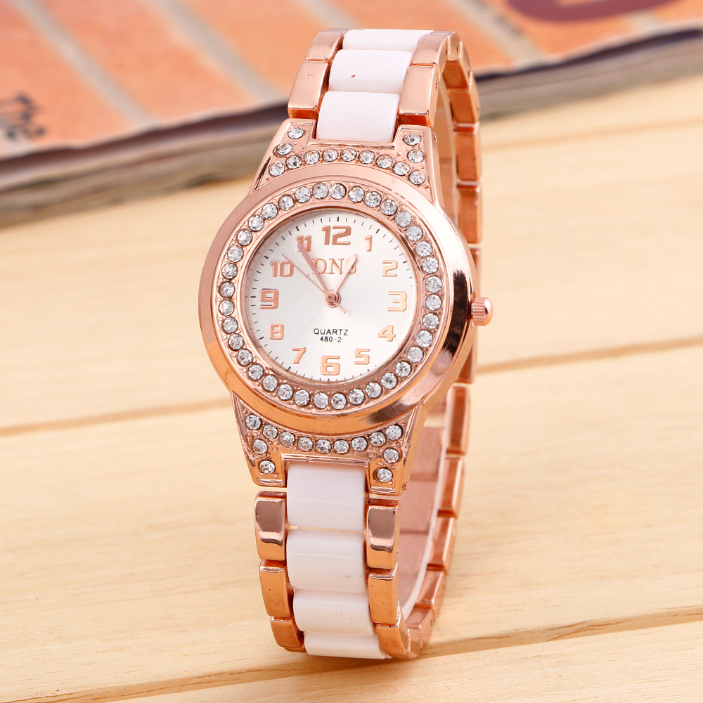 Top brand Luxury DNS Women lady Alloy diamond Golden Wrist Watches