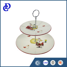 Exquisite 2 layer white round ceramic cake plate for christmas