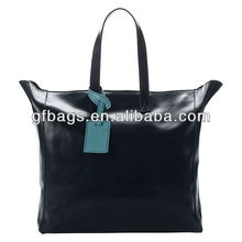 GF-N006 Practical Square Shape Black Leather Tote Bag for Woman