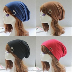 New Fashion Unisex Slouchy Beanie Top Quality Solid Color Hip-hop Knit Crochet Hat with Ring