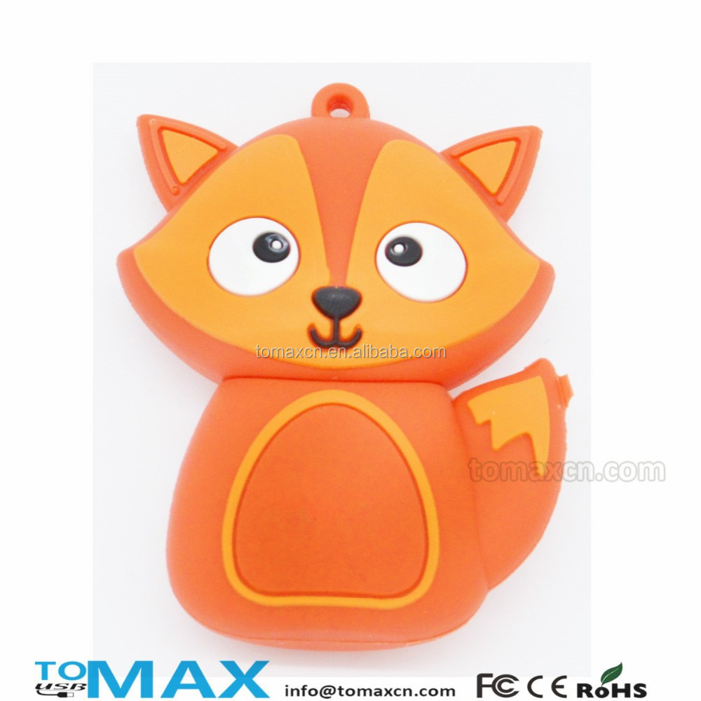 2015 new fox shape PVC cartoon character usb flash pendrive advertising