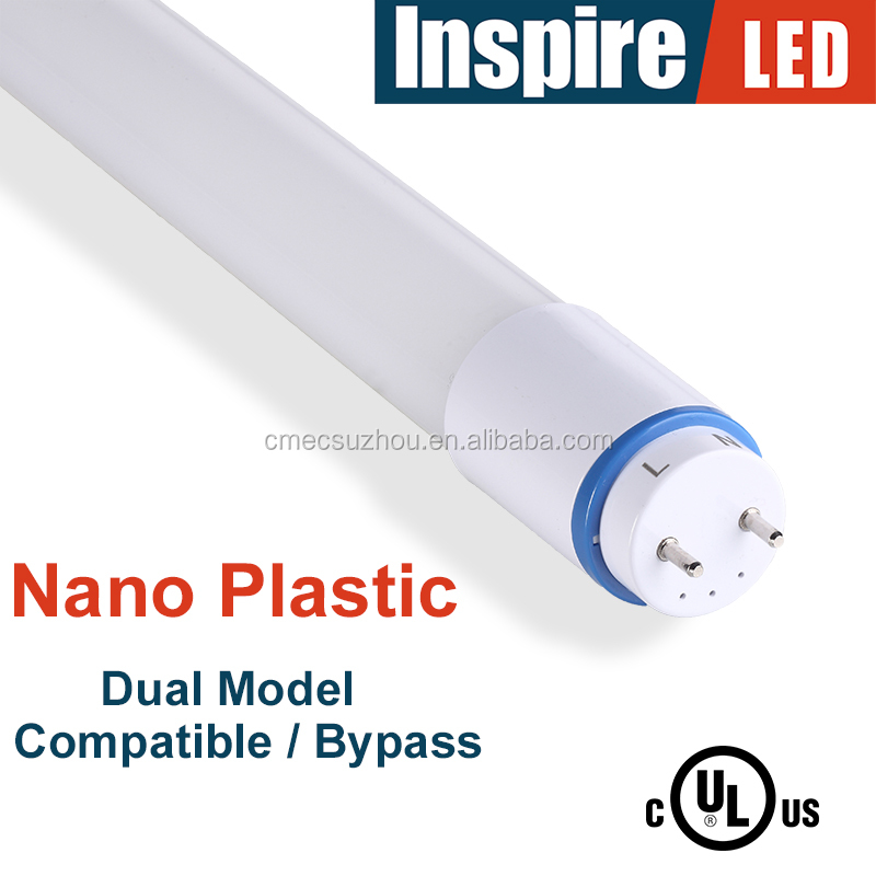 UL and DLC listed nano plastic 4ft T8 LED Tube