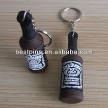 3D plastic wine bottle shape keychain