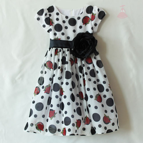 Children Boutique Clothing Girls flower print wear dress black flower
